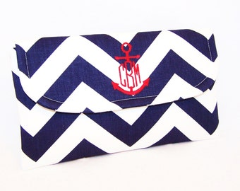 Nautical Chevron Clutch with Anchor Monogram - Wedding Clutch - Bridesmaid Clutch