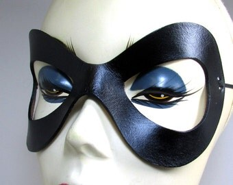 Harley Quinn Mask / Superhero Leather Mask / Cosplay Mask / Black Leather Mask / Ms Marvel / Harley Quinn / Costume / Harley Mask / Fetish