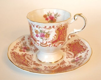 Vintage Teacup and Saucer Set Rosina Queens Pedestal Tea Cup Pink & Gold  with Pink Roses  - England - Mid Century Afternoon Tea Party