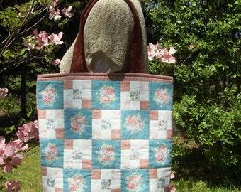 Large Tote Bag - Repurposed Quilted Wall Hanging - Nine Patch Rust/Peach Quilted Tote Bag -Large Craft/Market Tote Bag