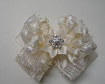 Dressy Glitz Ivory Satin Hair Bow Large Boutique Toddler Girl Wedding Pageant Flower Girl Easter