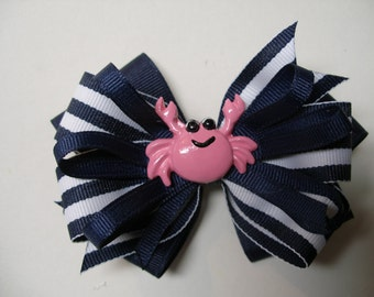 Hair Bow Hot PINK Crab Navy Blue Boutique Toddler Girl Summertime Fun