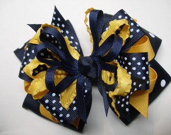 Big Hair Bow Dark Navy Polka Dot Navy WVU Yellow Gold  Back to School Uniform Large Boutique Toddler Girl