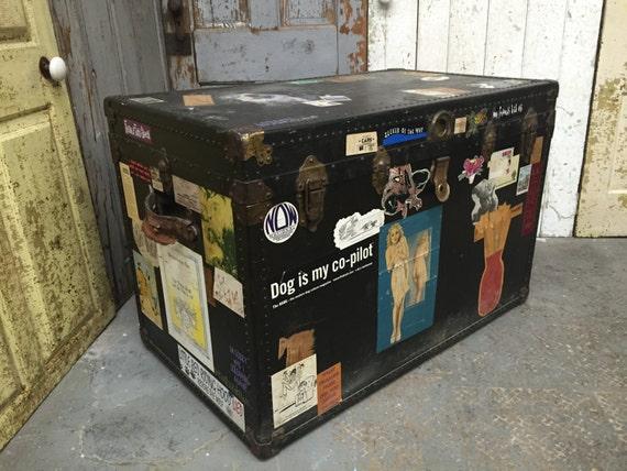Vintage Steamer Trunk Storage Trunk Chest Unique Coffee