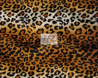 """Leopard Print Velboa Faux Fur Fabric - Gold - 58""""/60"""" Width Sold By The Yard"""