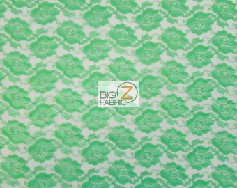 """Rose/Flower Lace Fabric - LIME - Sold By The Yard  - 54"""" Width"""
