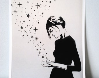 Star Girl Papercut Print