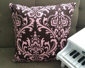 Pink Brown Damask Accent Pillow Cover