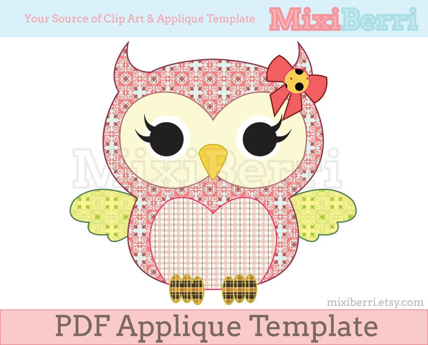 Miss Owl Applique Template Pdf Animal Applique Pattern Instant