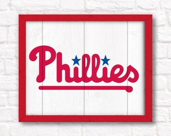 Philadelphia Phillies home decor- rustic handmade painted wood sign - Boys room or Man cave Phillies wall art Fathers Day gift