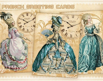 Vintage French Greeting cards Printable cards Gift tags on Digital collage sheet