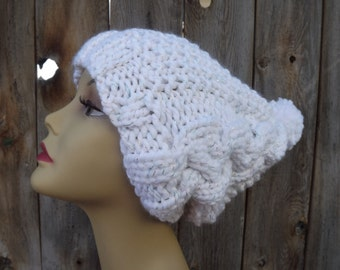 Slouchy Bohemian Hat-Slouchy- Cable Hat with Pompom-Womens-Hand Knit-White with Sparkle-Wool and Acrylic Blend