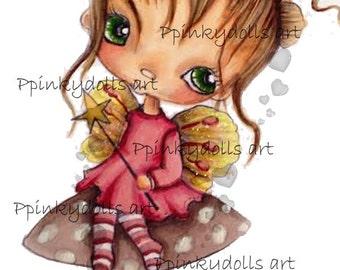 INSTANT DOWNLOAD Digital Digi Stamps..by Chrishanthi's art,Mushroom fairy''