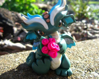 Polymer Clay Dragon with Bouquet Sculpture // Cute Dragon Sculpture // Miniature Dragon Figurine