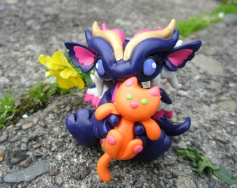 Dragon with Kitty Clay Sculpture
