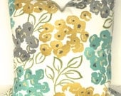 PILLOWS Turquoise Teal Decorative Throw Pillows 16x16 All Sizes Gray Gold Yellow Throw Pillow Covers Mint Grey Floral 18 20 22 24 26