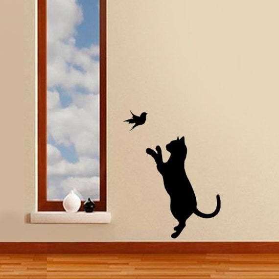 Cat bird stencil cat decor cat wall stencil painting for Pochoir mural geant