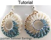 Beading Tutorial Pattern Earrings - Jewelry Making - Simple Bead Patterns - Egyptian Summer Earrings #1052