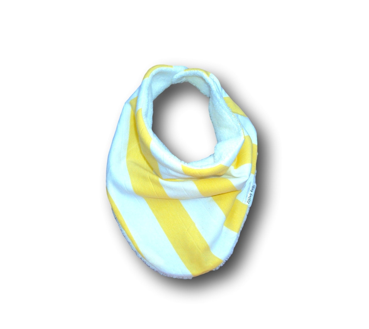 infinity baby scarf bib white minky with yellow and white