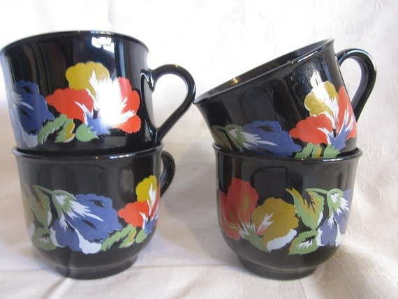 4 retro funky black floral coffee cups france by gingernirie - Funky espresso cups ...
