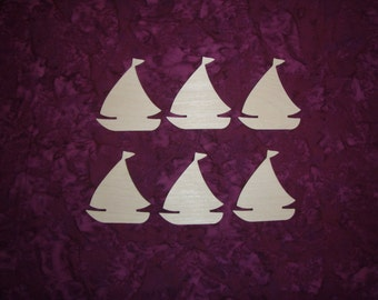 Sail Boat Shape Wood Cut Outs Wooden Unfinished Boats 6 Pieces