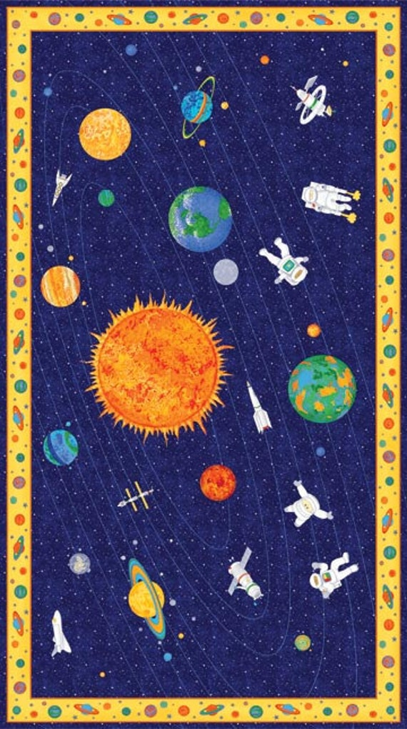 Free shipping blast off fabric quilting panel dark for Space fabric panel