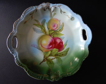 Bavarian Peach Fruit Bowl hand painted  c 1914
