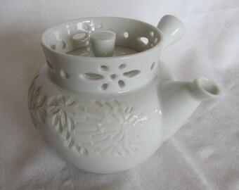 Vintage Japanese White Cut Porcelain Lace Trim Teapot