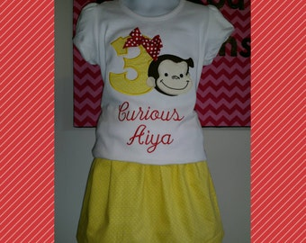 Yellow Dot Curious George Birthday Shirt with a Red Bow and matching skirt