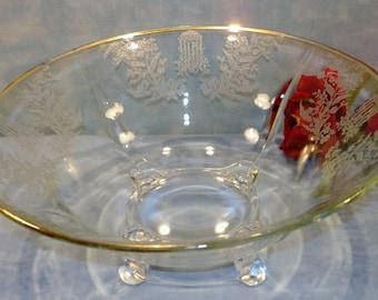 Gazebo by Paden City Crystal Depression Glass Console Bowl, 11.5 inch