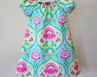 Toddler Girls Dress Peasant Dress in Pink Aqua Yellow Summer Dress Little Girls Dress