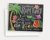 Tropical Note Card - Caribbean Rum Punch - Hand Lettered & Illustrated Card