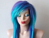 Scene wig. Emo wig. Teal/ Purple wig. Long straight hair side bangs scene hairstyle wig for daily use or cosplay.