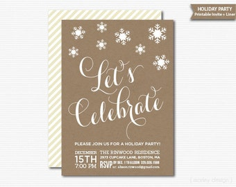 Rustic Printable Holiday Party Invitation Kraft Snowflakes Christmas Invitation Christmas Party Open House Office Party Digital Invite