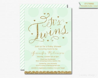 Twins Invitation It's Twins Invitation Printable Green Gold Glitter Gender Neutral Baby Invitation Baby Shower Invitation Digital New Baby