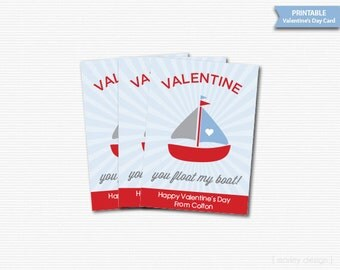 Printable Valentines Cards Classroom Valentines Day Cards Personalized Boat Digital Valentine's Gift Tags Kids Valentines Printables Favors