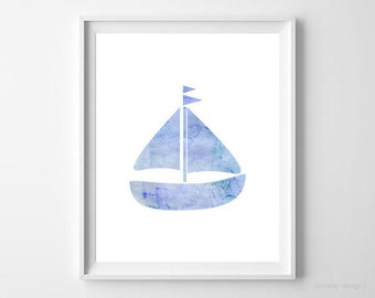 Nautical Print Boat Print Watercolor Blue 8x10 Instant Download Printable Nursery Art Nursery Decor Home Decor Boat Poster Modern Boys Room