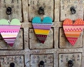 Hearts , a set of 3 wooden hearts  full of colors ,love and fun ! Valentine' s Day perfect gift