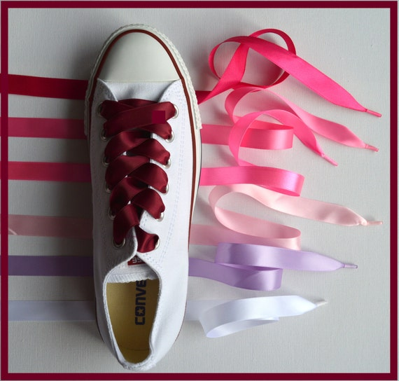 Pink Satin Ribbon Shoe Laces