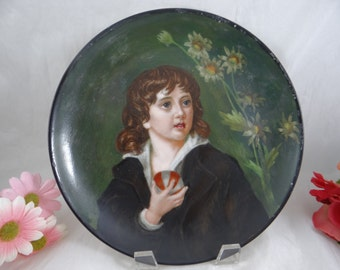 1800s Hand Painted Limoges France Portrait Plate - A Work of Art.
