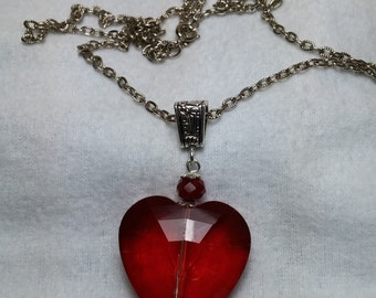 Large Faceted Red Rhinestone Heart Silver Tone Necklace