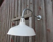 "Vintage Barn 16"" Round Shade White Porcelain Gas Station Industrial Wall Light Farm Industrial Warehouse"