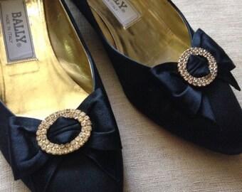 Vintage Bally Satin Shoes w/Chrystal Bows