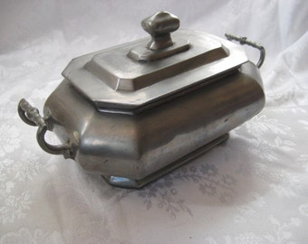 Pewter casserole dish, bowl with lid, bowl with handles, antique pewter, collectible pewter, 1426