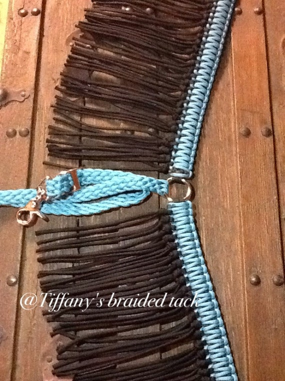 Fringe breast collar paracord horse tack turquoise and black for Paracord horse bridle