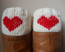 Hand Knitted Boot Cuffs Leg Warmers  Cream With Red Heart Valentines Day Gift