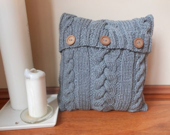 Cable Knit Pillow Cover Pillow Gray Pillow Decorative Knit Pillow Handmade Home Decor 16x16