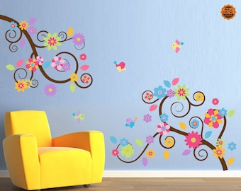 Colorful Flower Branch Wall Decal - Nursery Vinyl Wall Decal
