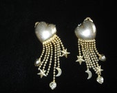 Vintage Hearts Stars Moons Earrings Clip on Signed Carol Lee