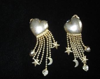 Vintage Hearts Stars Moons Earrings Clip on Signed Carol Lee